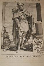 GRAVURE BELGIQUE HENRICUS III BRABANT VEEN COLLAERT 1623 OLD PRINT R988