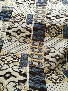 """Rug Bed Cover Blanket Heavyweight Fabric 200 x 140cm  55"""" x 79"""" inch BROWN BEIGE"""