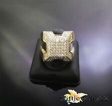 1.50 Ct Round Diamond Engagement Pinky Ring Mens 14K Yellow Gold Over Pave Band