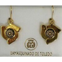 Damascene Gold Star Design Drop Earrings by Midas of Toledo Spain style 8111Star