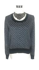 VINTAGE Jumper- Acrylic Black/Silver Lurex Metallic Round Neck Long Sleeve 12/14