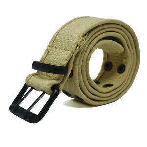 Unisex 100% Cotton Canvas Wed Belt Double Grommet Hole Adjustable Buckle Jean