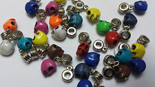 12 Mixed Skull  Dangle Bead Fit European Fit Charm Bracelet 12mm