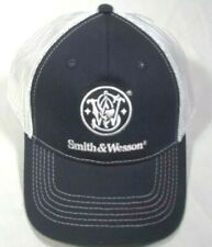 Smith & Wesson Logo S&W Snapback Mesh Trucker Hat Ball Cap Blue Hook Loop