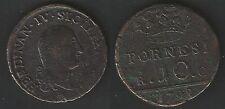 1798 Regno di Napoli Ferdinando IV Borbone 10 Tornesi in rame