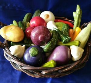 Ceramic Vegetables 34pc Lot Realistic Cabbage Tomato Carrot Yellow Green Pepper