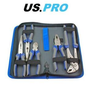 US PRO Tools 5pc Pliers Set combination long bent nose side cutters water pump