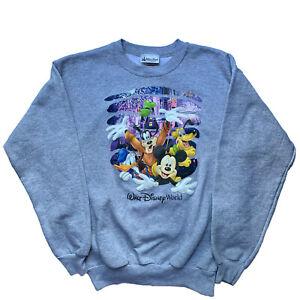 WALT DISNEY WORLD Sweatshirt Youth YXL Gray Mickey Goofy Donald Duck Pluto EUC