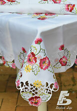 """Table Cloth, Embroidered Pink Flowers, 134x180cm (54""""x72"""") Home Decor FFDWY51"""