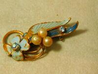Vintage Blue Enamel Flower Rhinestone Pearl Brooch Pin Austria 4b 51