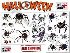 Realistic Tattoos Costume Party Zombie Horror Spider Scorpion Ladybug Body Art