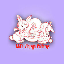 Vintage EASTER BUNNY Embroidery Transfer Pattern