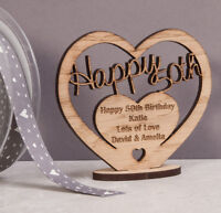Personalised Wooden Freestanding Heart for 50th Birthday Gift with Message