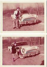 1955 Photographs MAN & WOMAN W/GUN in BONNIE & CLYDE POSES BUICK Ohio '54 Tag