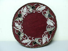 "NICE 19th CENTURY VICTORIAN PERIOD GLASS BEAD BEADWORK  7"" ROUND TRIVET, RED"