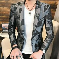 Men Blazer One Button Lapel Youth Korean Slim Fit Tops Spring Coats Jackets New