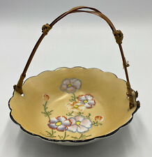New listing Vintage Japanese Moriage Trinket Dish, Yellow with Flowers and Rattan Handle