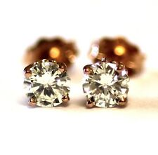 GIA certified .63ct SI1-I1 L-K New round diamond 14k rose gold stud earrings .8g