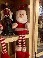 "Santa Clause Figure Plush Peppermint Candy Posable Ornament Xmas Decor 21"" Wreat"