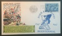 1947 John Paul Jones Bicentennial Cancel Annapolis MD WWII Patriotic Cover