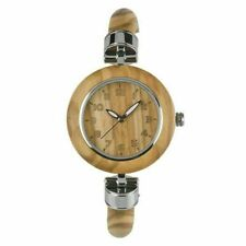 Women Bracelet Wooden Sandalwood Quartz Watches Round Dial Thin Strap Wristwatch
