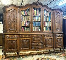 Superb Antique 10' Louis XV French Walnut Bookcase Display Cabinet Beveled Glass