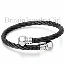 "9.1"" Adj Men's Stainless Steel Black Silver Two Tone Cuff Cable Bracelet Unisex"