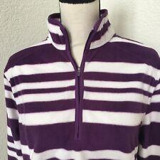 LANDS' END 1/4 zip Striped Purple White Fleece Pullover  size XL/P 18  C18
