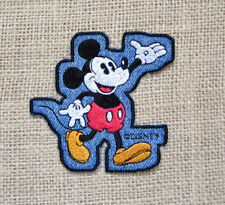 Vintage Disney Mickey Mouse Denim Patch Greetings Folks Novelty Sew On Iron On