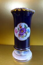 MEISSEN ANTIKE Füßchen Vase KOBALTBLAU BLUMENBUKETT beidseitig 1. Wahl 1860-1923