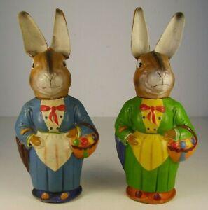 2 Antike Füll Boxen Pappe Osterhasen Paar Mann und Frau