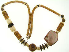 Vintage Ethnic Earthy Freeform Mother Of Pearl Shell Nut Coconut Bead Necklace