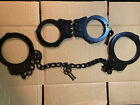 COMBO Set Handcuffs Hand & Leg Cuffs Irons NICKEL Double Locking + 4 Keys BLACK