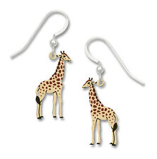 Giraffe Earrings - 925 Sterling Silver Ear Wire - Giraffes Zoo Animal Tall NEW