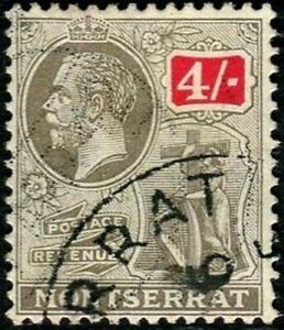 Montserrat 1922-29 KGV  4/- Black & Scarlet   SG.82 Used  Cat:£50