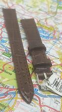 Morellato marrone pelle grana coccodrillo 12MM Watch Strap Band Fibbia D'Argento Tono