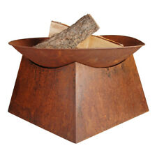 Rustic Square Base Fire Pit Bowl with Base Outdoor Open Firepit Heater 34cm