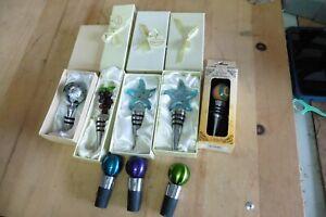 8 Lot NEW Bottle Stopper cork wine Champagne part D'Lusso Rainbow glass lot of 8