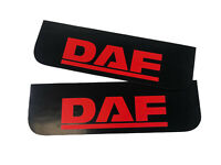 Mud Flaps Truck Lorry DAF 18x60cm Smooth Black with Red Logo