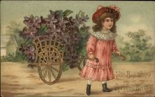 Little Girl in Pink Dress Pulled Carriage of Flowers c1910 Postcard