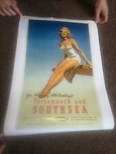 A3 Portsmouth And Southsea British Railway Sexy Lady Photo Retro Old Poster