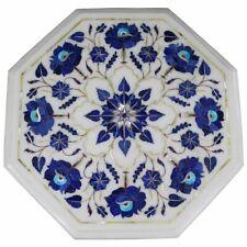 "18"" White Marble Multi Stone Coffee Table Top Inlay Mosaic Garden Decor"
