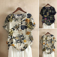 Womens Casual Short Sleeve Holiday Shirt Tops Cotton Vintage Floral Print Blouse