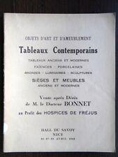 Catalogue vente Tableau ancien Moderne Mobilier XVIIIe Docteur Emile Bonnet Nice