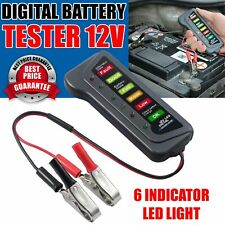 12V Car Battery Tester Digital Alternator 6 LED Lights Display Diagnostic Tool