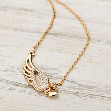 Charming Women's Fashion Angel Wings Love Heart Pendant Chain Necklace Jewelries