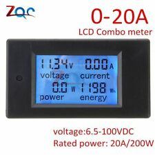 DC 6.5~100V 0~20A 4 in 1 Digital Voltage Current Power Energy Meter Large LCD...