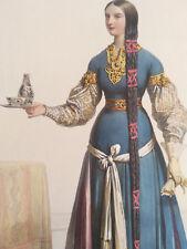ACHILLE DEVERIA 1800-1857 COLORFUL XXL LITHOGRAPHY DAME DU SALON DE LA REINE CLO