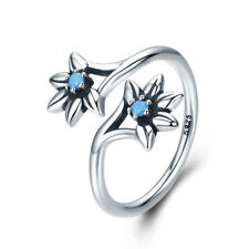 925 Sterling Silver Ring Blue CZ Flower European Wrap Toe Women Band Adjustable
