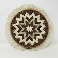 """Vintage Hand Pieced Quilted Folded Star Fabric Embroidery Hoop Wall Decor 10"""""""